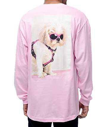 Dog Limited x Pizzaslime Shih Tzu Pink Long Sleeve T-Shirt