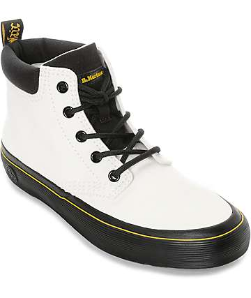 Dr. Martens Allana Padded Collar White & Black Canvas Boots