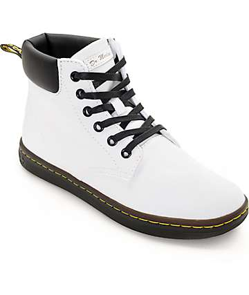 Dr. Martens Maelly White Canvas Boots