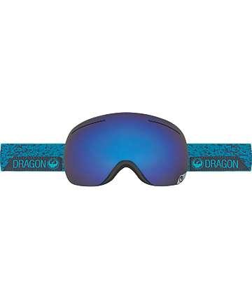 Dragon X1 Stone Blue, Dark Smoke Blue & Yellow Red Ion Snowboard Goggles