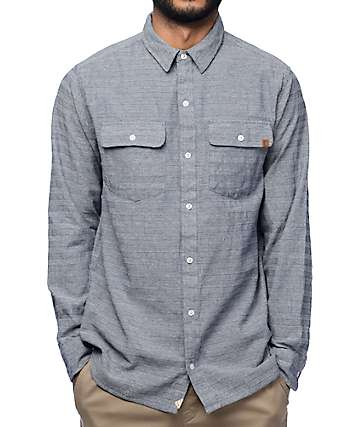 Dravus Ambrey Navy Bobby Striped Woven Long Sleeve Shirt