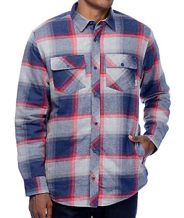 Dravus Benny Blue, Grey & Burgundy Sherpa Flannel Shirt