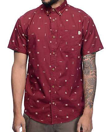 Dravus Boris Burgundy Print Button Up Shirt