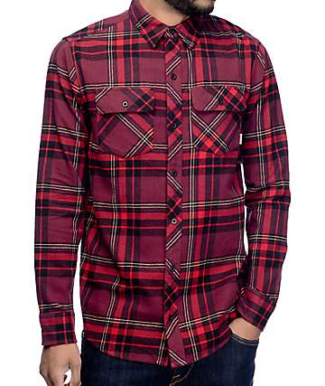 Dravus Brian Burgundy, Red & Black Flannel Shirt