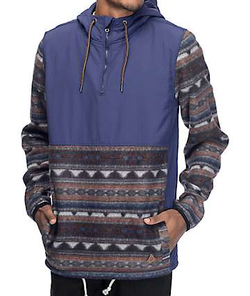 Dravus Britton Navy & Tribal Anorak Tech Fleece Jacket