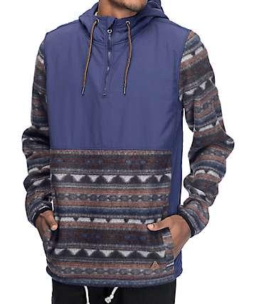 Dravus Britton chaqueta polar anorak en tribal y azul marino