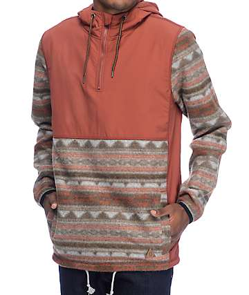 Dravus Britton chaqueta polar anorak en tribal y color herrumbre
