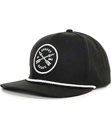 Dravus Crossed Rope Black Snapback Hat