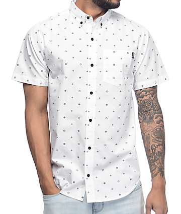 Dravus Danny Fullard White & Navy Short Sleeve Button Up Shirt