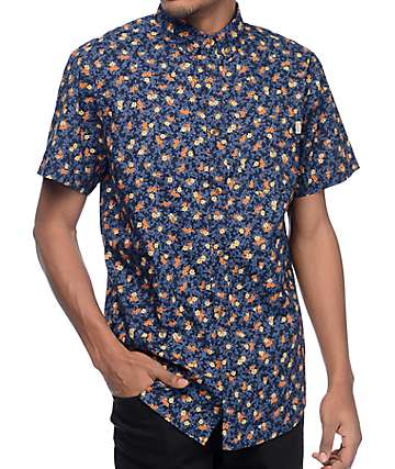 Dravus Ditsy Floral Navy Short Sleeve Button Up Shirt
