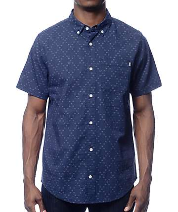 Dravus Donald Navy Dobby Short Sleeve Button Up Shirt