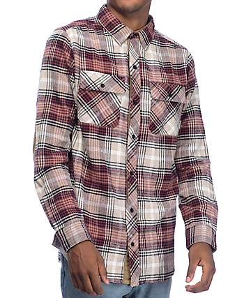 Dravus Donny Burgundy, Khaki & Natural Flannel Shirt