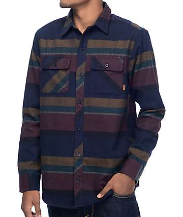 Dravus Drey Navy, Burgundy & Black Flannel Shirt