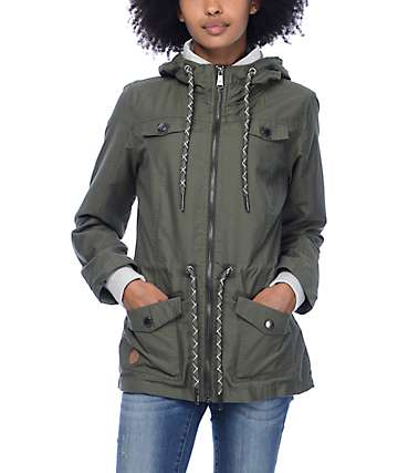 Dravus Dylan Olive Cinch Zip Up Jacket