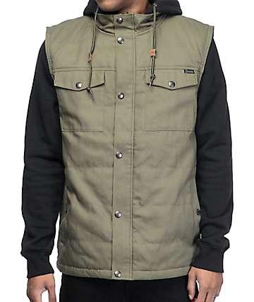 Dravus Feedback 2fer Olive & Black Canvas Vest Hoodie