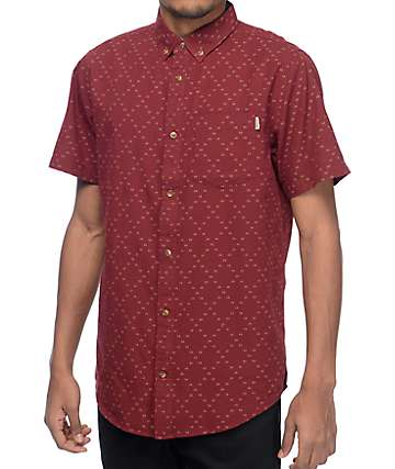 Dravus Foster Burgundy & White Dobby Woven Button Up Shirt