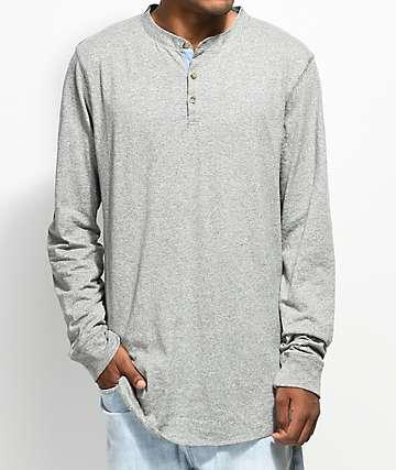 Dravus Gabe camiseta henley de manga larga en gris jaspeado