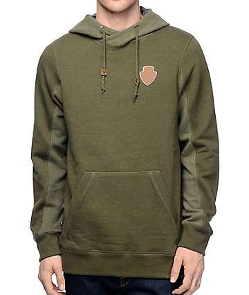 Dravus Glover Green Crossneck Fleece Hoodie
