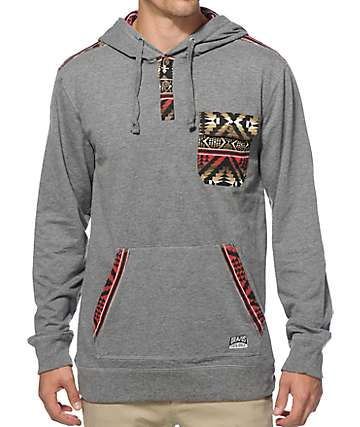 Dravus Goldmine Tribal Henley Pocket Hoodie