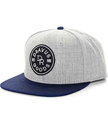Dravus Goods Grey & Navy Snapback Hat