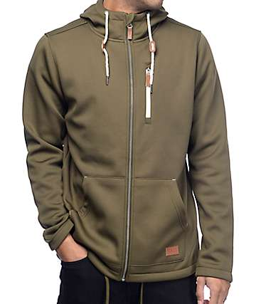 Dravus Grays Olive Tech Fleece Zip Up Hoodie