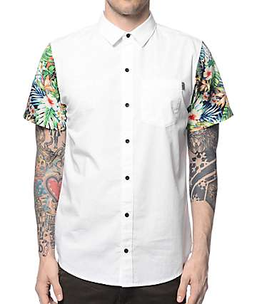 Dravus Gunnar White & Tropical Button Up Shirt