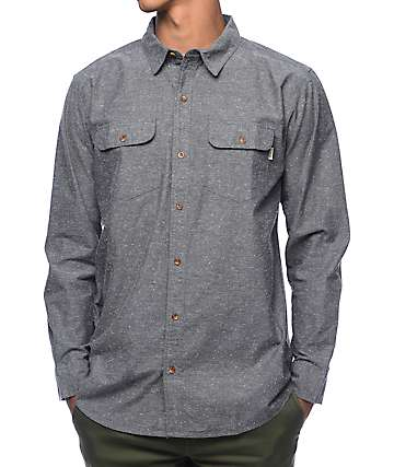Dravus Hamlett Heather Grey Long Sleeve Button Up Shirt