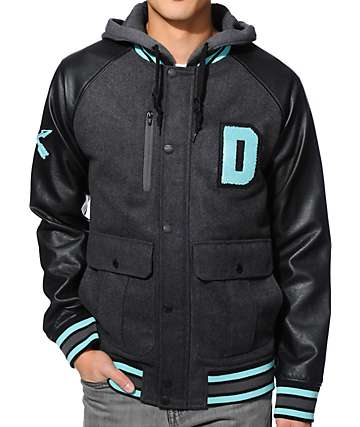 Dravus Heisman Black, Charcoal, & Teal Hooded Varsity Jacket