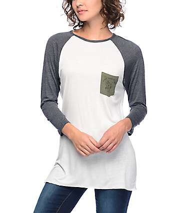 Dravus Indira Good Vibe Cream, Grey & Olive Baseball T-Shirt