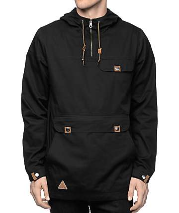 Dravus Jungle Black Twill Anorak Pullover Jacket