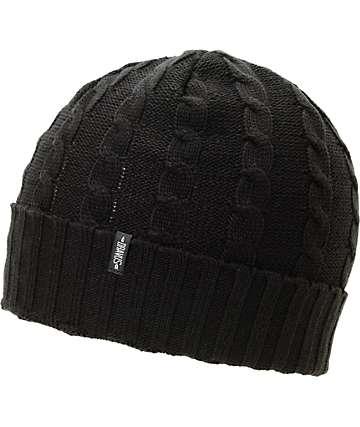 Dravus Kodey Black Cable Knit Fold Beanie
