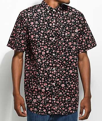 Dravus Landon camisa abotonada en negro floral