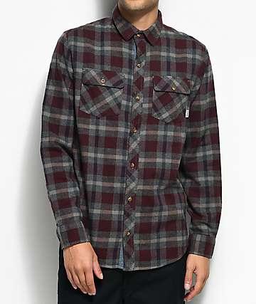 Dravus Mark camisa de franela en color borgoño, azul marino y gris
