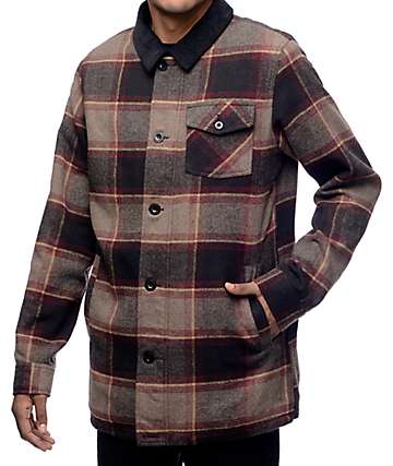 Dravus Natural Yarn Plaid Sherpa Jacket