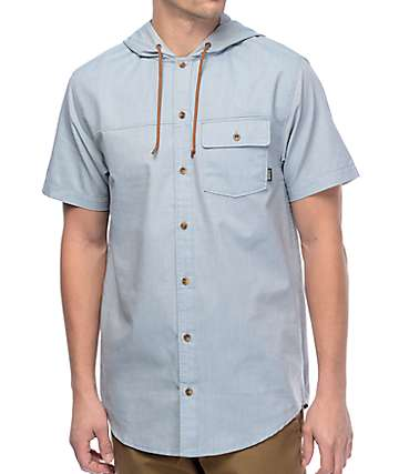 Dravus Newb Light Blue Hooded Short Sleeve Button Up Shirt