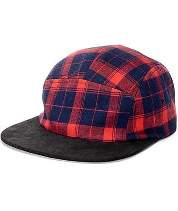 Dravus Radar gorra de cinco paneles tartán rojo