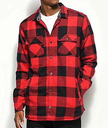 Dravus Rae Red & Black Buff Sherpa Flannel Shirt