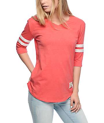 Dravus Rainier Red & Cream Stripe V-Neck Baseball T-Shirt