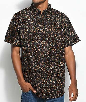 Dravus Rands Ditsy Black & Burgundy Short Sleeve Button Up Shirt