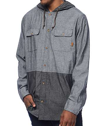 Dravus Randy Grey & Charcoal 2 Tone Chambray Hooded Oxford