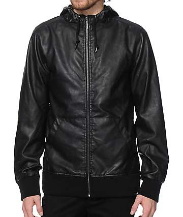 Dravus Resistance Faux Leather Hooded Jacket