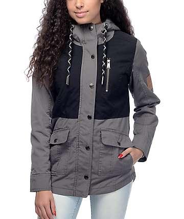 Dravus Roya Charcoal & Black Twill Hooded Jacket