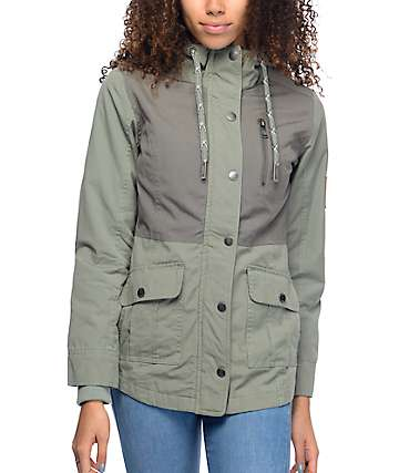 Dravus Roya Olive Twill Color Block Coat