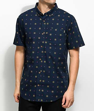 Dravus Sam Navy, Gold & Burgundy Printed Short Sleeve Button Up Shirt