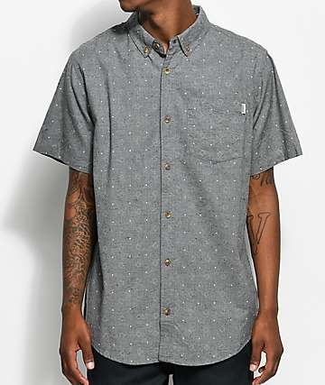 Dravus Simon Jasper Grey Printed Short Sleeve Button Up Shirt
