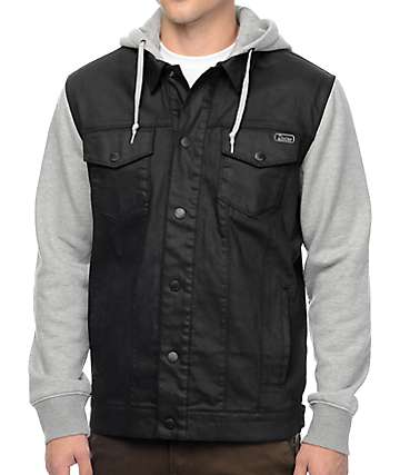 Dravus Sloaner Black & Heather Grey Denim Vest Hoodie