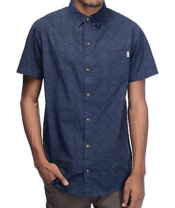 Dravus Stitched Print Navy Button Up Shirt