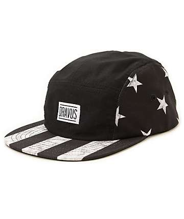 Dravus Stripped Black & White 5 Panel Hat