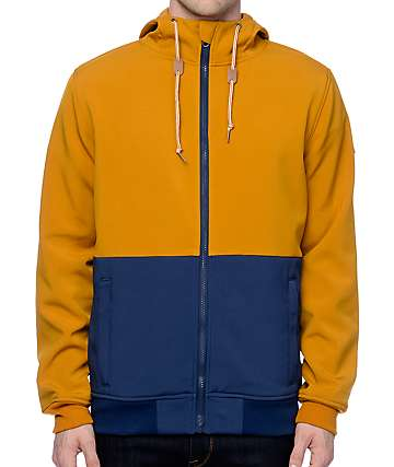 Dravus Trevor Navy & Mustard Tech Fleece Zip Up Hoodie