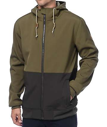 Dravus Trevor Olive & Charcoal Tech Fleece Zip Up Hoodie